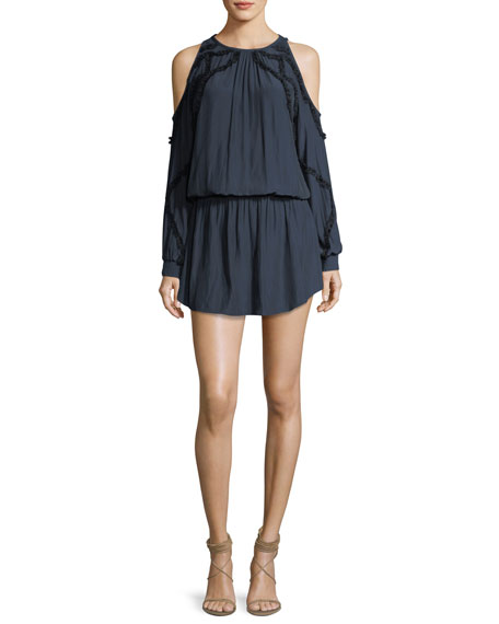 Taima Cold-Shoulder Blouson Dress w/ Ruffled Trim