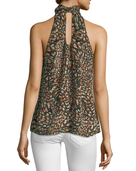 Tanzania High-Neck Sleeveless Scarf-Tie Top