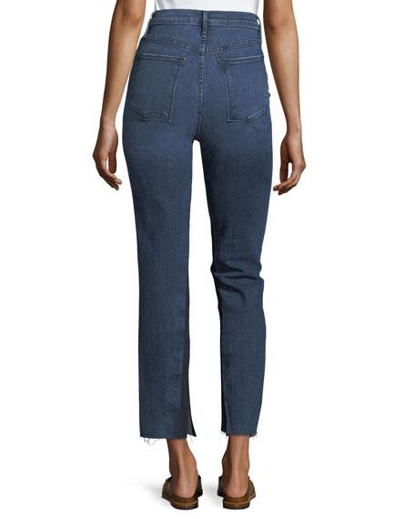 Le High Raw-Edge Split Straight-Leg Jeans
