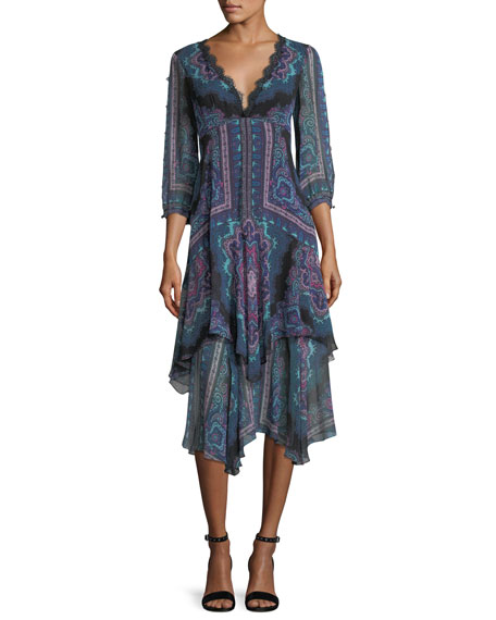 Nanette Lepore Janis V-Neck Paisley Chiffon Dress w/