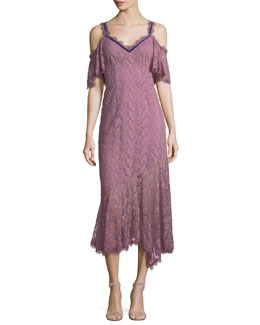 Debbie Lace Cold-Shoulder Slip Dress w/ Velvet Trim
