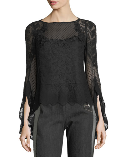 Carrie Boat-Neck Embroidered Mesh Blouse
