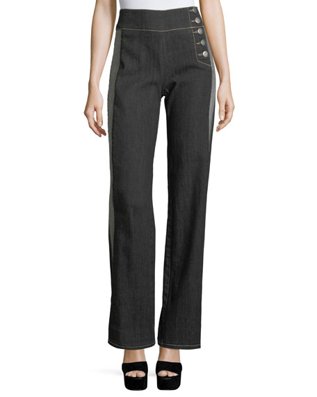 Patti High-Waist Side-Stripe Wide-Leg Pants