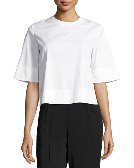 Frankie Laced Stretch Poplin Crop Top