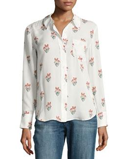 Scott Long-Sleeve Printed Silk Georgette Blouse