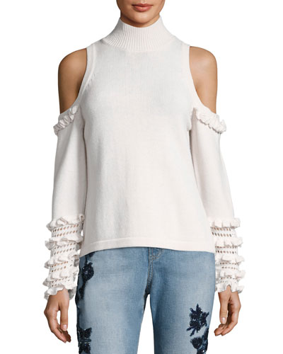 Cold-Shoulder Crochet Ruffle Turtleneck Sweater