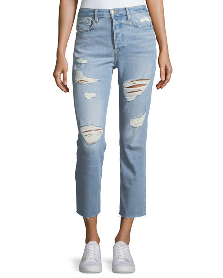 Le Original High-Rise Distressed Cropped Jeans