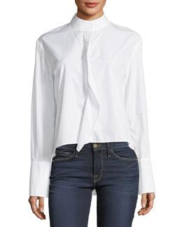 Cravat Long-Sleeve High-Low Poplin Shirt