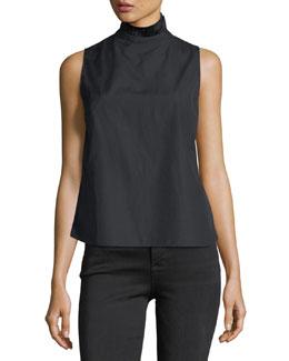Ruffled-Neck Button-Back Sleeveless Poplin Shirt