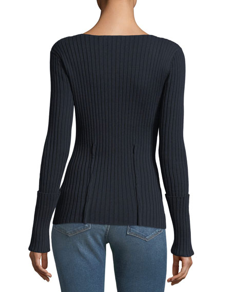 Boat-Neck Long-Sleeve High-Twist Cotton Sweater