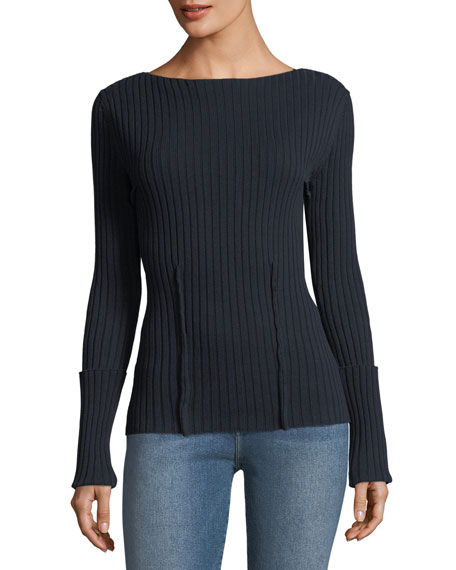 Boat-Neck Long-Sleeve High-Twist Cotton Sweater