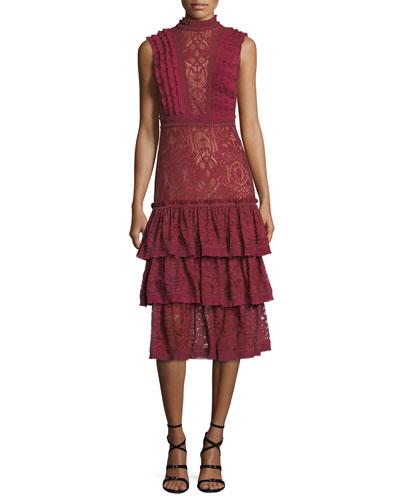 Mock-Neck Sleeveless Tower Mesh Lace Ruffled Dress
