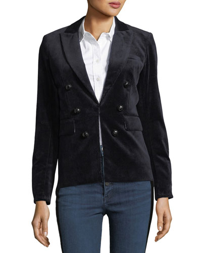 Clifford Double-Breasted Hook-Front Corduroy Jacket