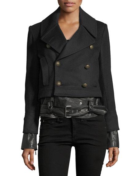 Yara Double-Breasted Pea-Coat Jacket w/ Leather Hem