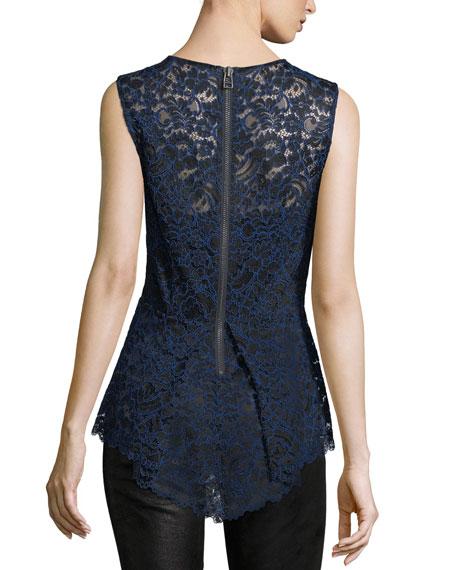 Corded Lace Back-Zip Sleeveless Peplum Blouse