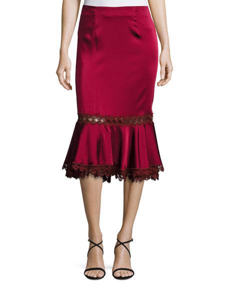 Sateen Midi Trumpet Skirt w/ Lace
