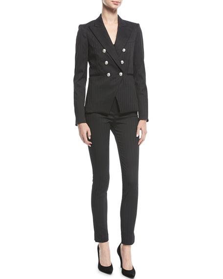 Terra High-Waist Herringbone Skinny Trousers