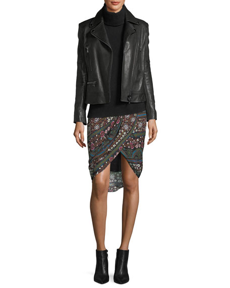 Nash Twist-Front Printed Pencil Skirt