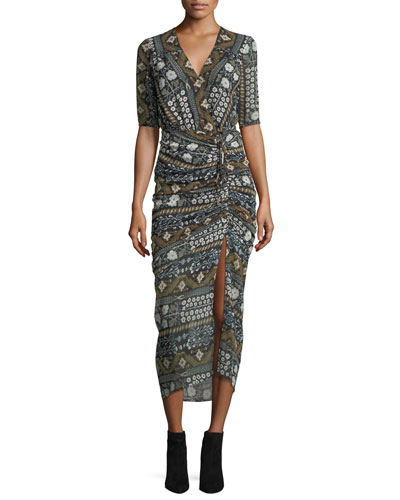 Perla Multi-Printed Faux-Wrap Fitted Midi Dress