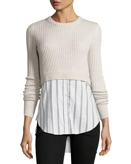 Garrett Cashmere Sweater w/ Striped Shirting