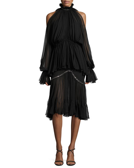 Two-Tier Pleated Cold-Shoulder Cocktail Dress w/ Grommets