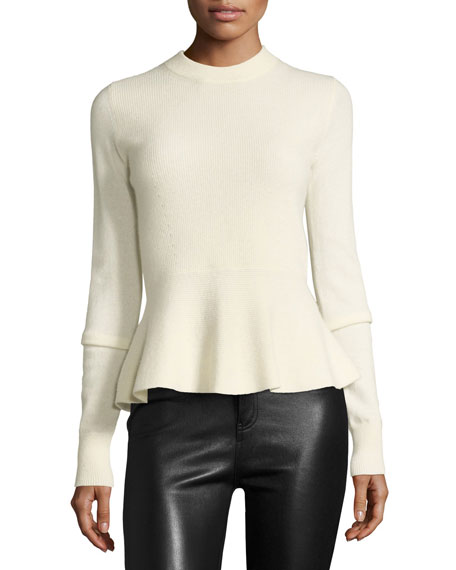 Raleigh Cashmere Crewneck Peplum Sweater