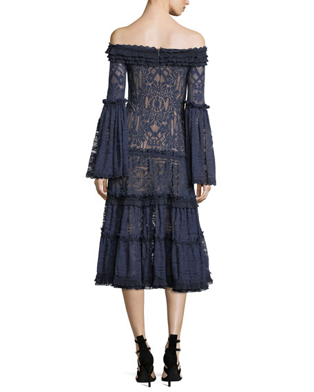 Off-the-Shoulder Tower Mesh Lace Midi Cocktail Dress