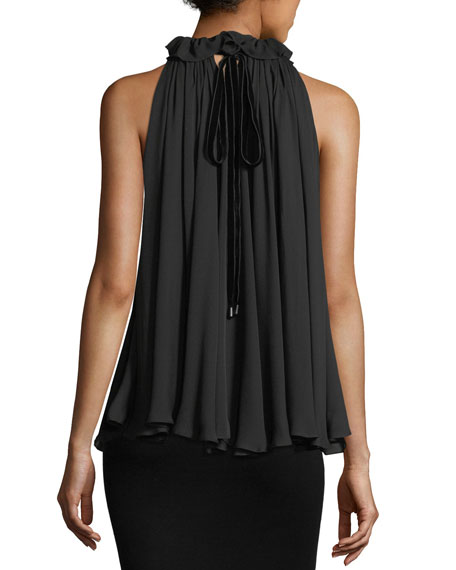 123349e84703c1 Jonathan Simkhai High-Neck Ruffled Sleeveless Silk Top
