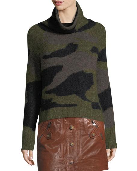 Davis Turtleneck Camo Silk-Alpaca Sweater
