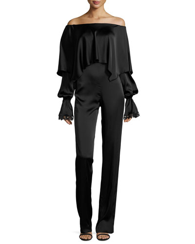 Fluid Long-Sleeve Stretch-Sateen Jumpsuit