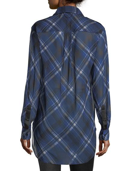 Mason Plaid Button-Front Tunic Shirt