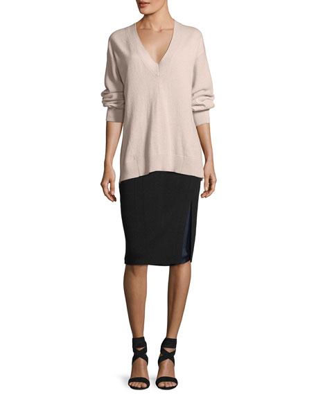 Alyssa Double-Layer Knit Pencil Skirt