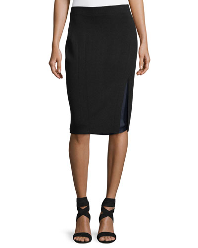 Alyssa Double-Layer Knit Pencil Skirt