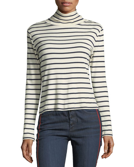 Audrey Striped Turtleneck Cotton Top