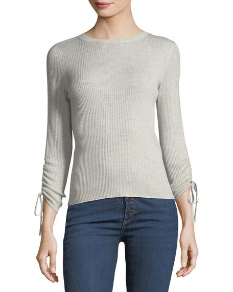 Owen Tubular Drawstring-Sleeve Ribbed Sweater