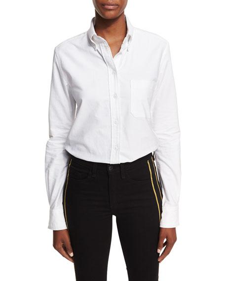 Brigitte Button-Front Poplin Oxford Bodysuit