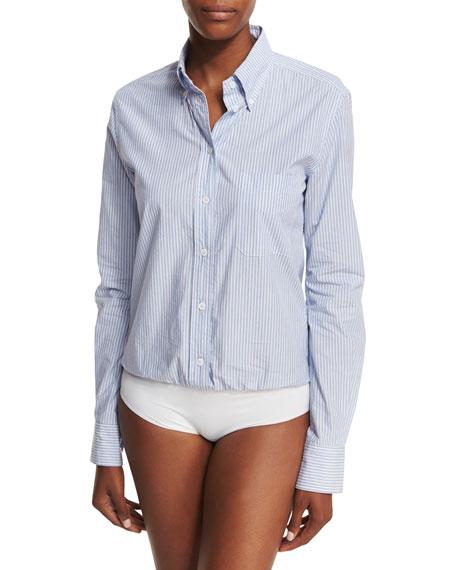 Brigitte Striped Button-Front Oxford Bodysuit