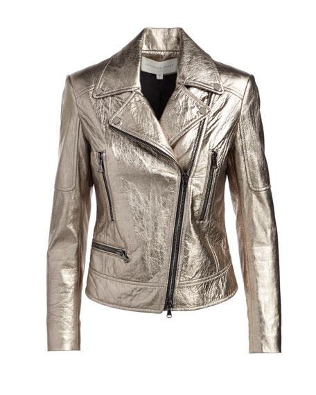 Mica Metallic Leather Biker Jacket