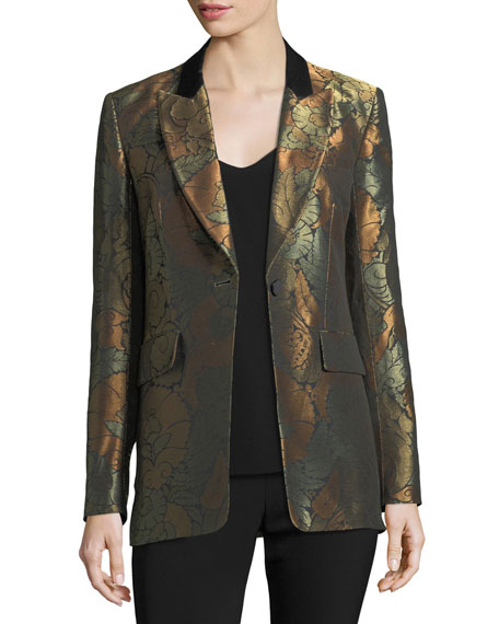 Vera One-Button Metallic Jacquard Cocktail Blazer