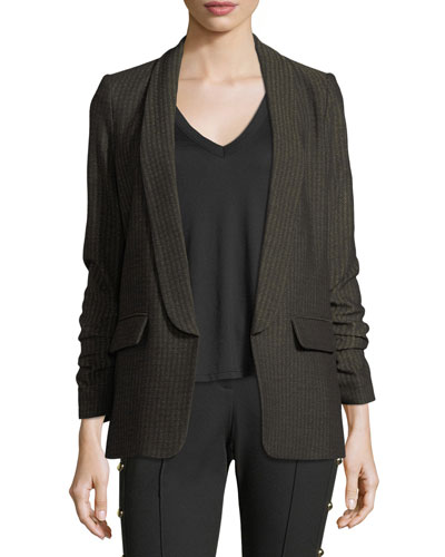 Clay Open-Front Shawl-Lapel Boyfriend Blazer