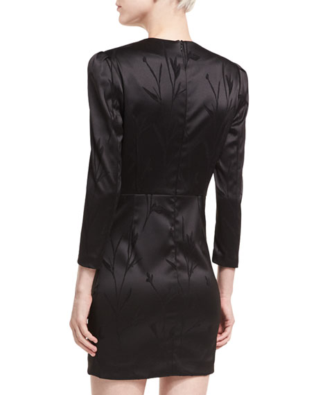 Otto V-Neck Puff-Sleeve Mini Cocktail Dress