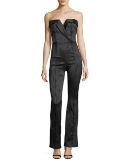 Ryland Strapless Flared-Leg Tux Jumpsuit