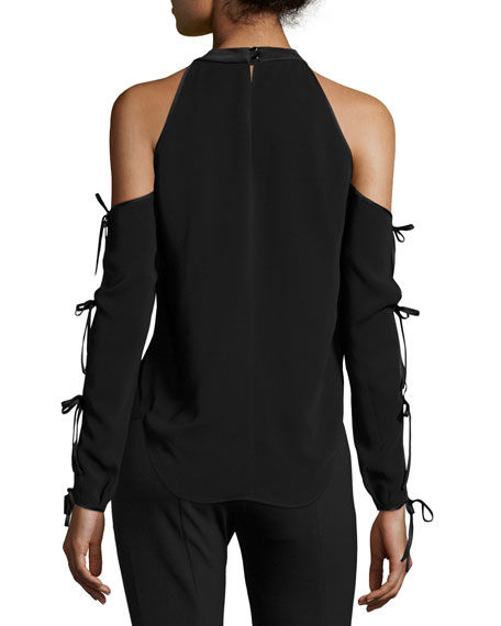 Lachland Cold-Shoulder Collar Cutout Blouse