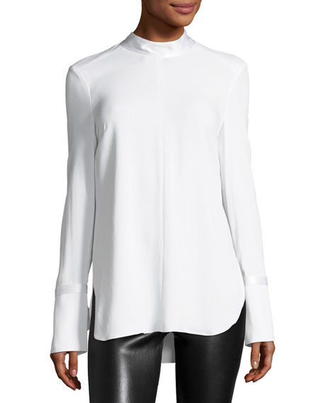 Costello Mock-Neck Long-Sleeve Tunic with Ties