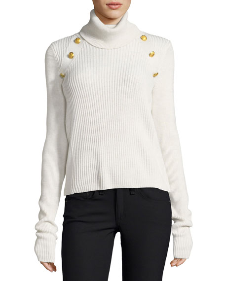 Pearson Turtleneck Ribbed Wool Sweater w/ Button Trim