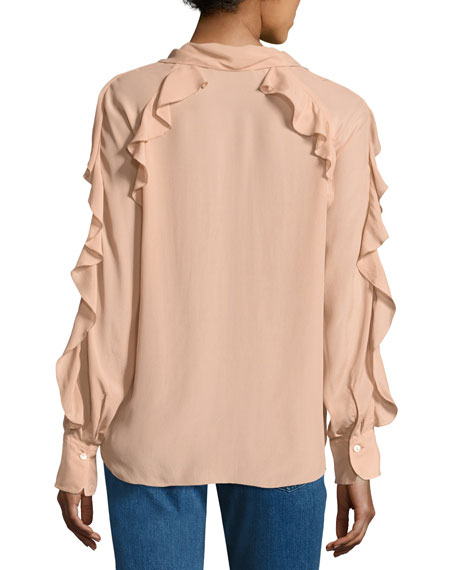 Tie-Neck Ruffled Silk-Blend Blouse