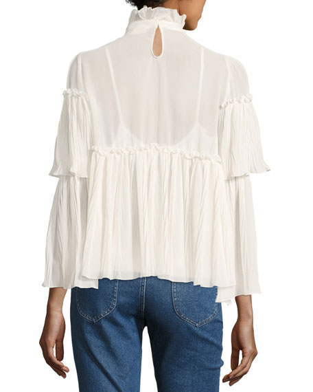 Gathered Long-Sleeve High-Neck Peasant Blouse