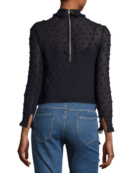Dotted Chiffon Embroidered Long-Sleeve Blouse