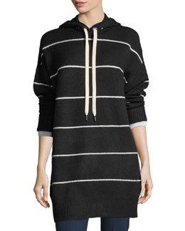 Riva Long-Sleeve Hooded Striped Tunic