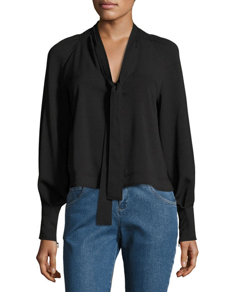 Necktie Long-Sleeve Crepe Blouse
